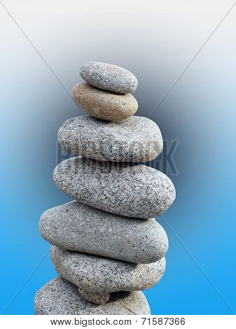 Balanced Pebbles With Color Background