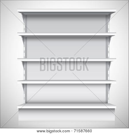 White supermarket shelves