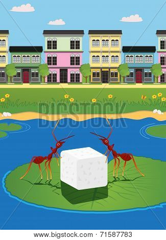 poster of Ants carrying sugar with the city as a backdrop.