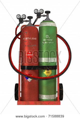 3D digital render of a welding cart with acetylene and oxygen isolated on white background poster