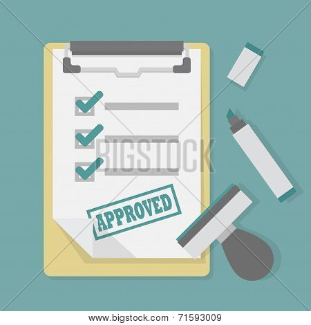 Approved paper document on clipboard with stamp and marker