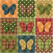 textile patchwork background with butterflies vector illustration poster