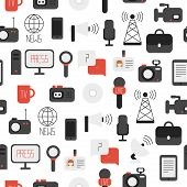 Seamless pattern of of flat colorful vector journalism icons. Mass media. Communication. Illustration consists of computer, news, reporter, camera, microphone, radio. Infographics design web elements. Background. poster