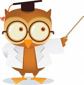 Illustration of Owl teacher teaching with stick poster