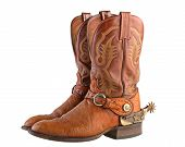 Cowboy boots, ornate spurs with leather straps & conchos. poster