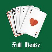 Casino poker gambling full house hand composition vector illustration poster