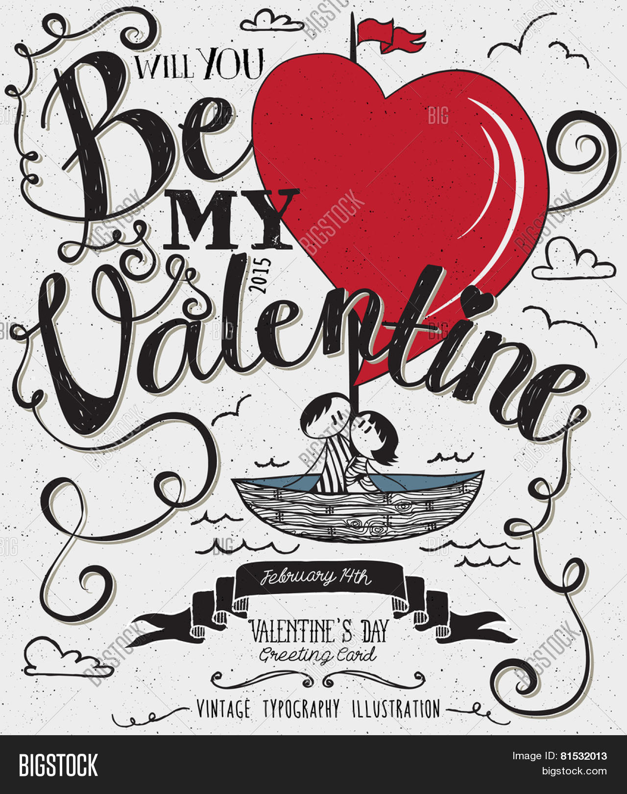 Valentines Day Typography Art Poster Hand Drawn Cute Stick Figures Couple Sailing In A
