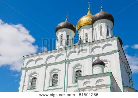 Classical Russian ancient religious architecture. The Trinity Cathedral located since 1589 in Pskov Krom or Kremlin. Orthodox Church poster
