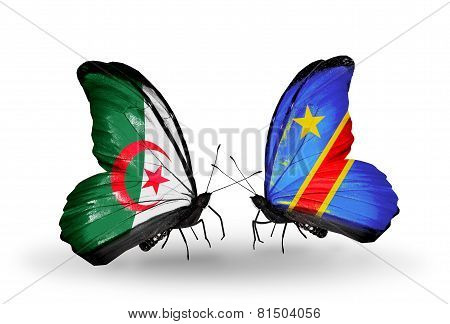 Two Butterflies With Flags On Wings As Symbol Of Relations Algeria And Kongo