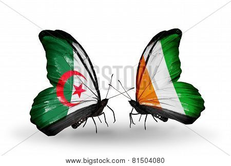 Two Butterflies With Flags On Wings As Symbol Of Relations Algeria And Cote Divoire