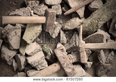 Concrete floor and rubble debris