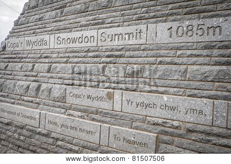 Summit Sign Mt Snowdon