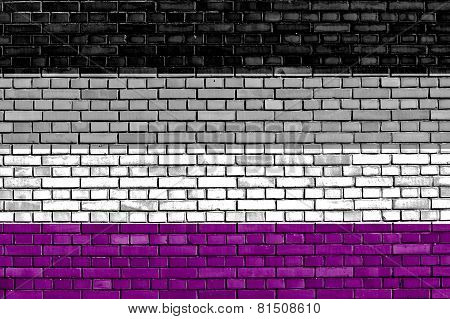 Asexual Flag Painted On Brick Wall