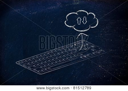 Computer Keyboard With Enter Key Sending Data To Cloud Computing