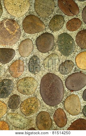Bedrock Background With Round Pebble Stones