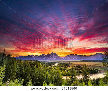 Summer Sunset At Snake River Overlook