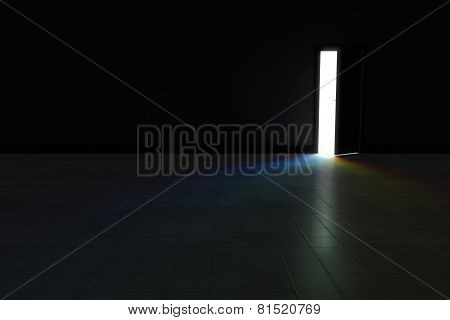 Open Door To Dark Room With Bright Rainbow Light Shining In.  Background Illustration.