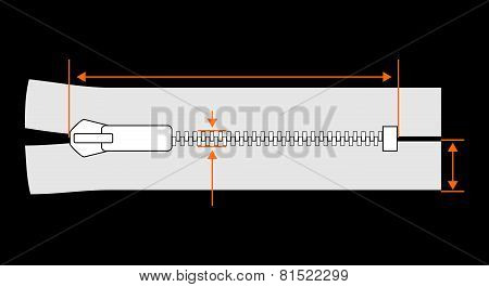 Zipper dimension vector illustration isolated on black background.