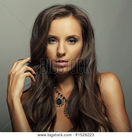 Portrait Attractive Brunette Young Girl