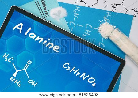 Tablet with the chemical formula of  Alanine . Amino acids. poster