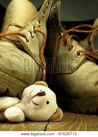Teddy Bear Crushed By A Heavy, Old Military Boot.