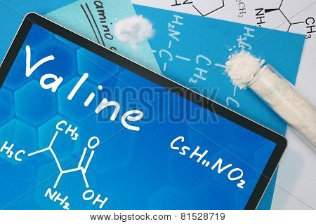 Tablet with the chemical formula of   Valine. Amino acids. poster