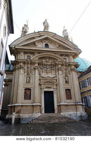 GRAZ, AUSTRIA - JANUARY 10, 2015: St. Catherines church and Mausoleum of Ferdinand II, Graz, Austria on January 10, 2015.