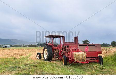 Red Hay Baler