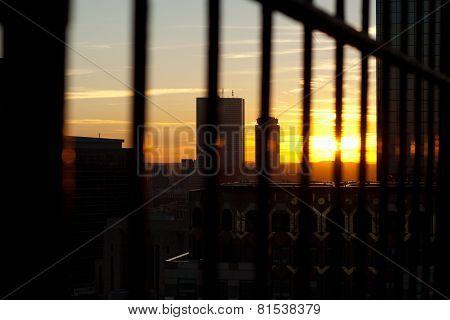 Boston Skyscrapers At Sunset
