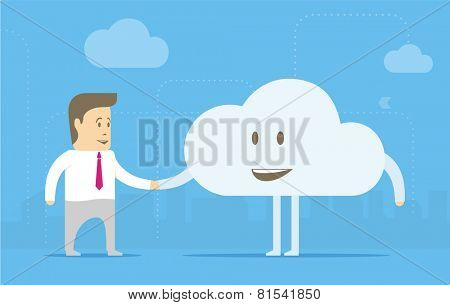 Character businessman befriended cloud. The concept of understanding and acceptance of new technologies.
