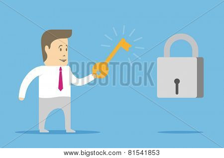 The character businessman have got the key from the lock
