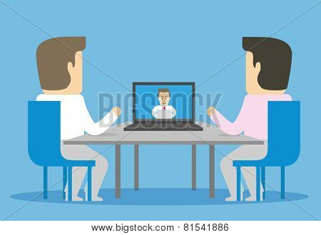 Video conference with remote employee. Two businessman communicate with third through the Internet.
