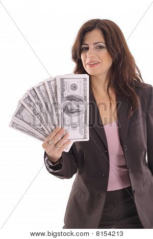 woman showing off big money