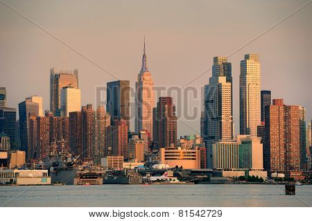 New York City sunset panorama with Manhattan skyline viewed from New Jersey.