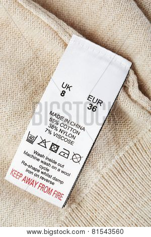 Label on clothing close-up