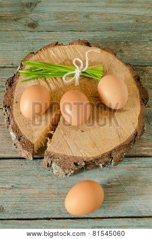 Easter Still Life With Eggs On Cut Tree