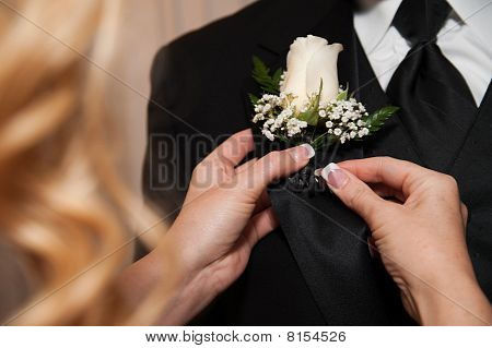 A close up of a woman's hand pinning a fresh flower or Boutonniere on a man's lapel collar. poster