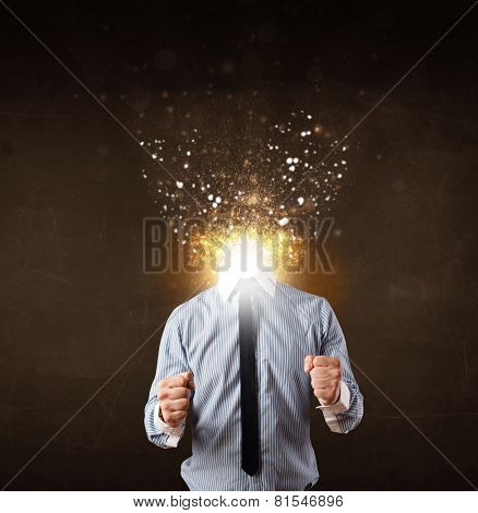 Business man with glowing exploding head concept poster