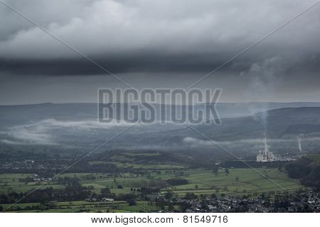 Misty Autumn Morning Landscape Of Derwent Valley From Mam Tor In Peak District