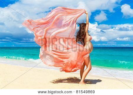 Young Pregnant Woman With Pink Cloth Fluttering In The Wind On A Tropical Beach.