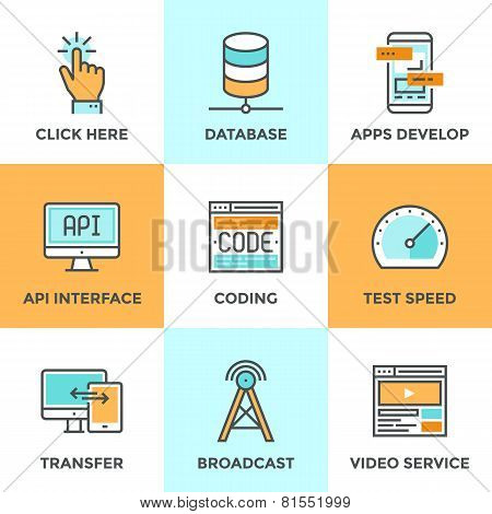 App Develop And Data Technology Line Icons Set