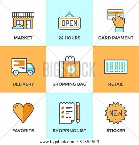 Shopping Services Line Icons Set