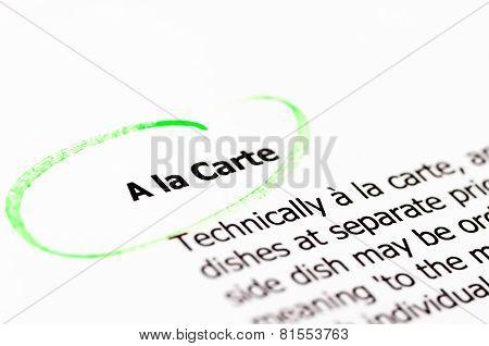 Closeup Shot Over A La Carte Words On Paper