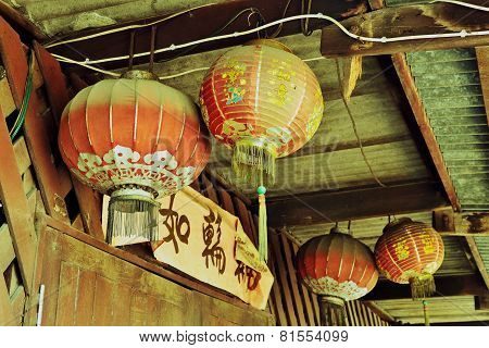 Chinese lanterns on the door a couple
