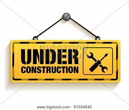 Under Construction Sign in White Background