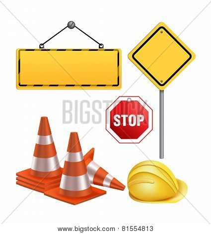 Blank Under Construction Sign in White Background