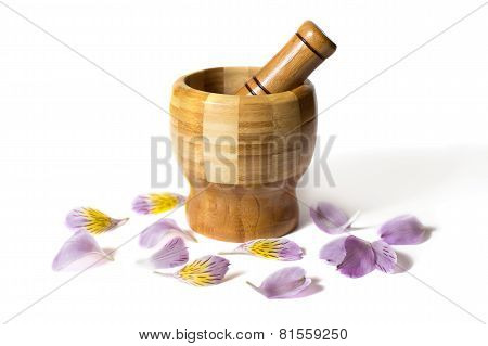 Wooden bamboo pounder with flowers