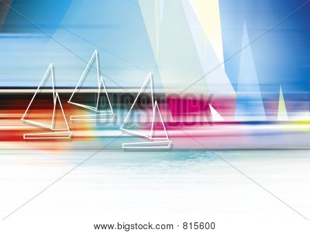 an abstract sailing image on a colorful abstract background poster