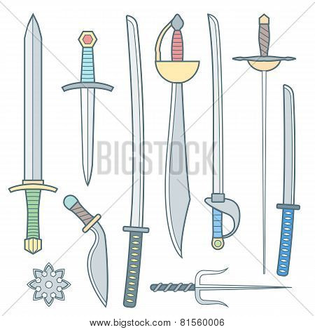 vector cold weapons colored outline set