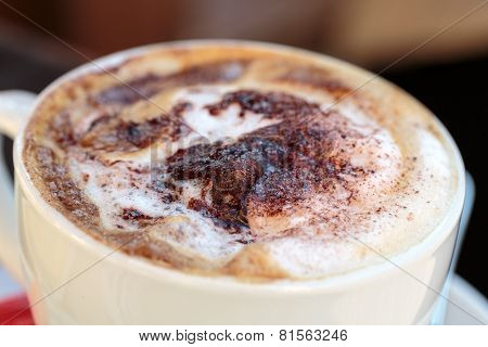 Close up of Delicious and tasty coffee cappuccino poster